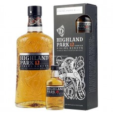 Highland Park 12 Years Single Malt Scotch Whisky (With 1 x Viking Pride 18 Years Minibottle)